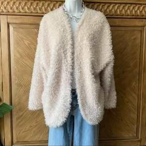 H&M off white poodle fur open style fuzzy coat